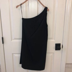 Theory size 2 black one shoulder linen Melly dress